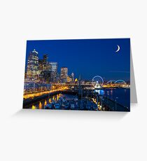 Seattle Waterfront at Twilight Greeting Card