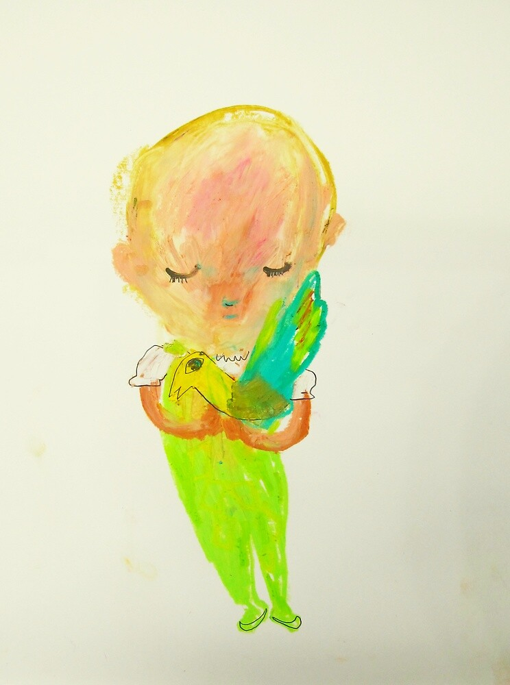 green girl with bird by donna malone