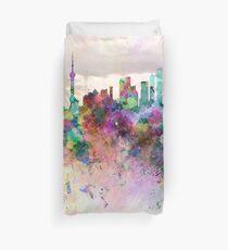 Shanghai skyline in watercolor background Duvet Cover