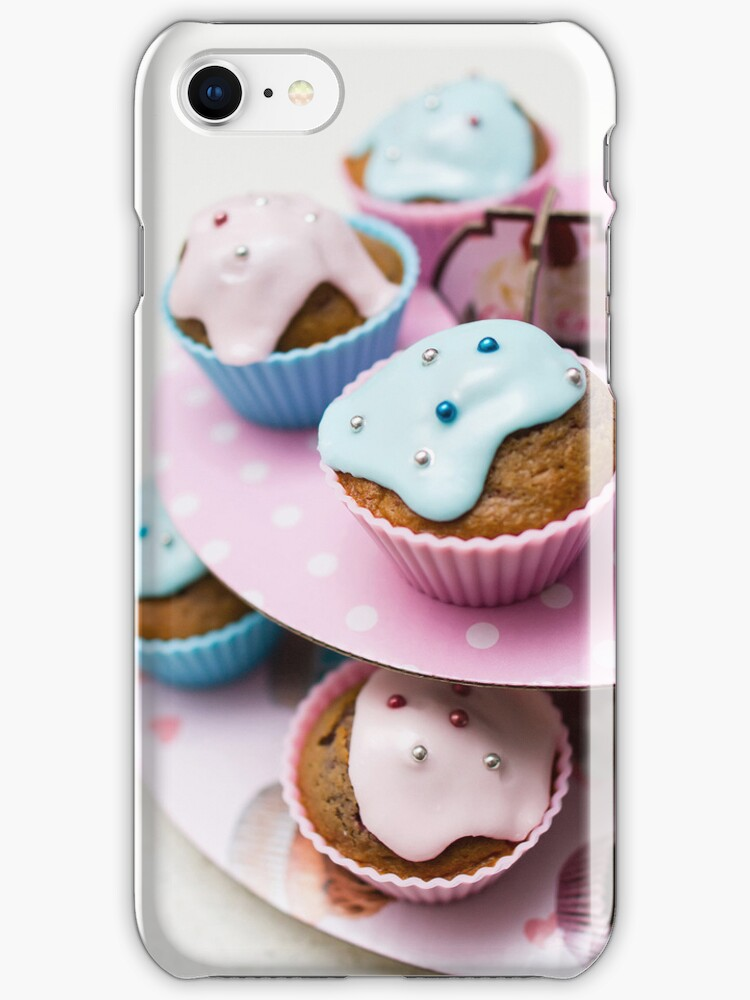 Homemade blue and pink cupcake - iPhone by hangingpixels