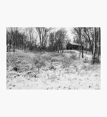 Winter Barn 1 - Black and White Photographic Print