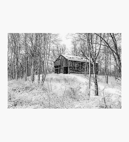 Winter Barn 2 - Black and White Photographic Print