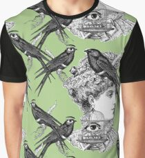 Victorian lady and big eyed bird design Graphic T-Shirt