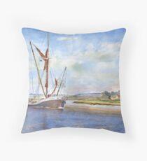 Thames Barge at Maldon Throw Pillow