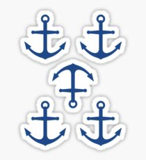 Blue anchor stickers, set of five Sticker