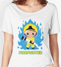 Cute Fire Fighter Yellow Women's Relaxed Fit T-Shirt