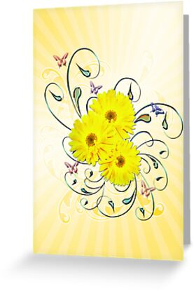 Yellow daisies by Norma Cornes