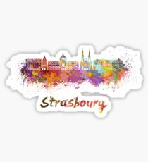 Strasbourg skyline in watercolor Sticker