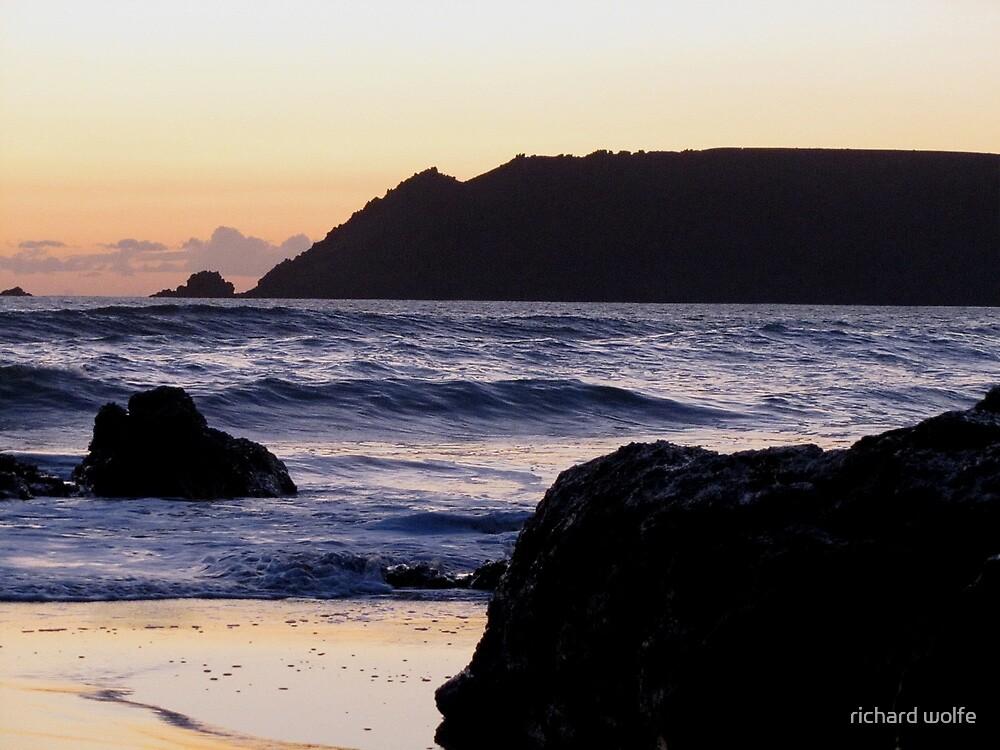 South Devon Gara Rock To Bolt Head Salcombe Autunm Sunset by richard wolfe