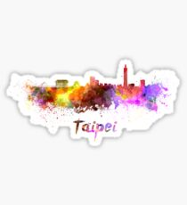 Taipei skyline in watercolor Sticker