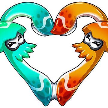 Squid Love - Turquoise x Orange by LuAnneB