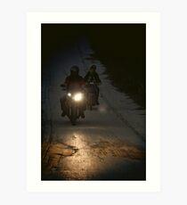 Riding in the night Art Print
