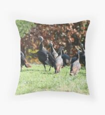TURKEYS IN THE YARD Throw Pillow