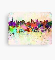 Tel Aviv skyline in watercolor background Canvas Print