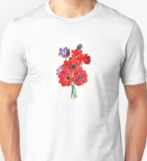 A Posy Of Wild Red And Lilac Anemone Coronaria Unisex T-Shirt