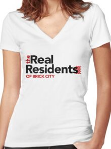 'The Real Residents of Brick City (TRRoBC)' Women's Fitted V-Neck T-Shirt