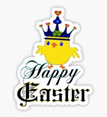 Funny easter gifts for kids stickers redbubble happy easter blue eyed irish king chicken clothing stickers negle Image collections