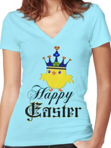 ㋡♥♫Happy Easter Blue Eyed Irish King Chicken Clothing & Stickers♪♥㋡ Women's Fitted V-Neck T-Shirt