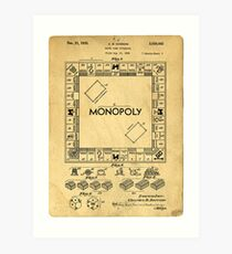 Original Patent for Monopoly Board Game 1936 Art Print