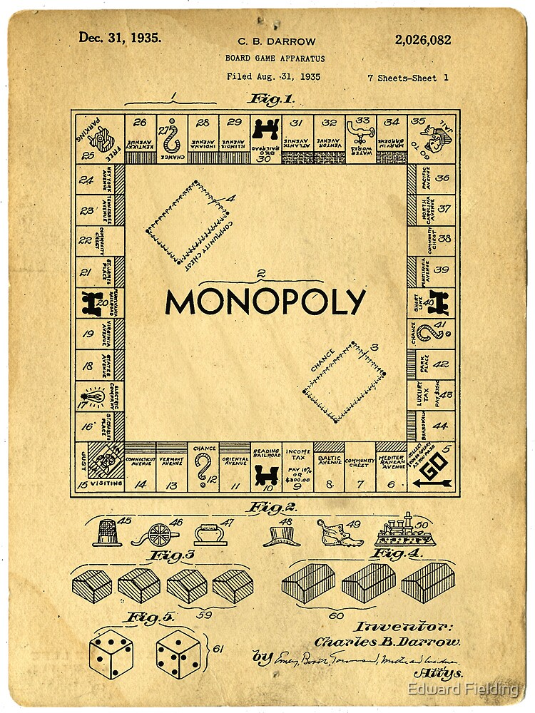 Original Patent for Monopoly Board Game 1936 by Edward Fielding