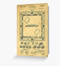 Original Patent for Monopoly Board Game 1936 Greeting Card