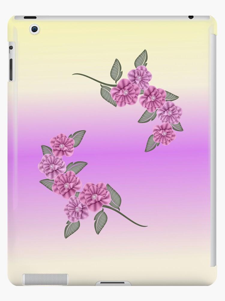 Light Purple Ribbon Pansies Ipad Cae by roseofgold