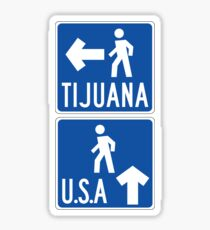 Pedestrian Crossing Tijuana-USA, Traffic Sign, USA Sticker