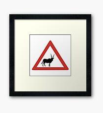 Caution Oryx, Traffic Warning Sign, Namibia Framed Print