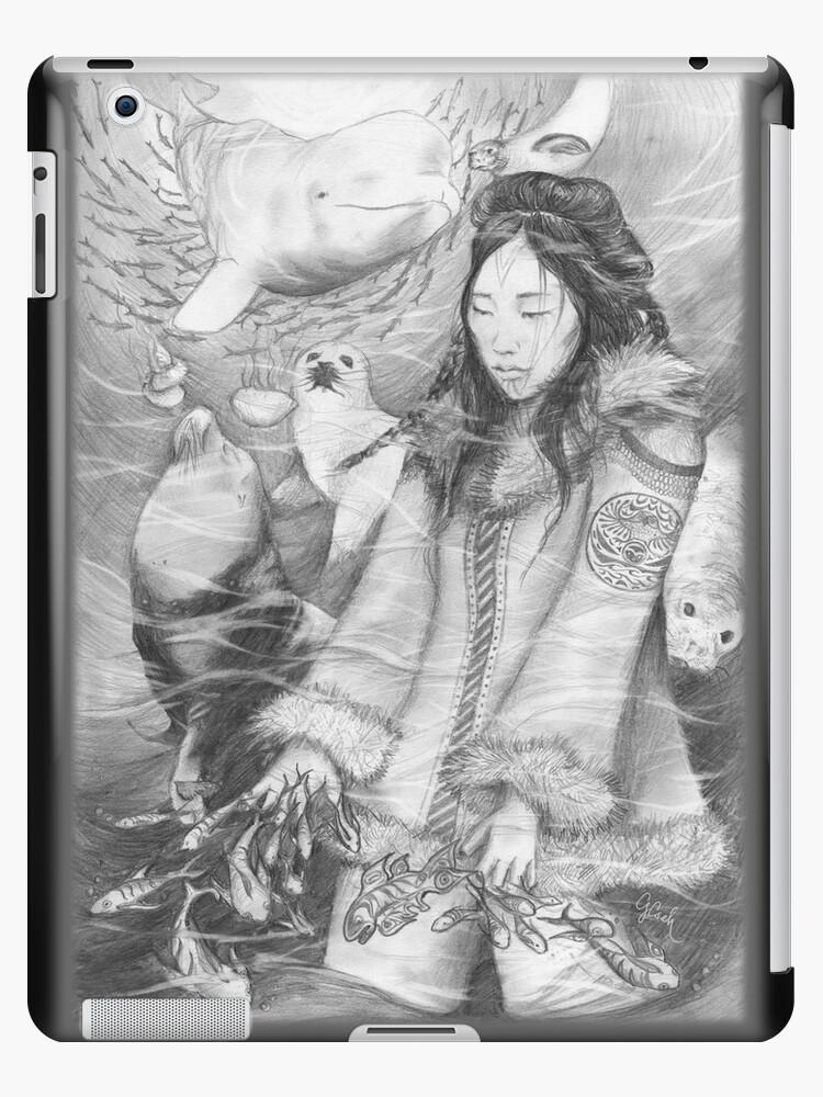 Sedna, Inuit Goddess of the Sea (B&W) iPad Case by Genevieve  Cseh