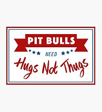 Pit Bulls Need Hugs Not Thugs Photographic Print