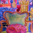 Pink Cat in Green Chair by artqueene