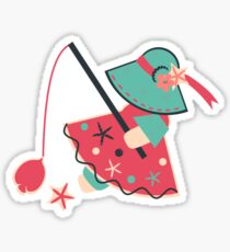 Sunbonnet Sue Goes Fishing Sticker