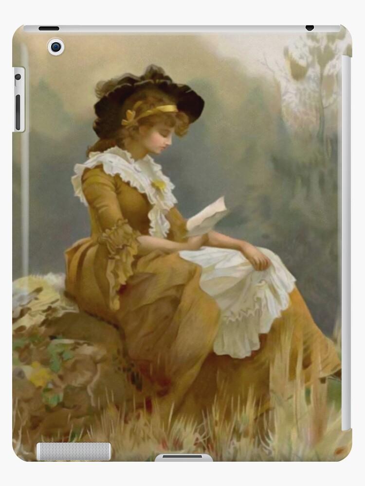 Vintage Blond Lady Reading iPad Case by AdrianeJ