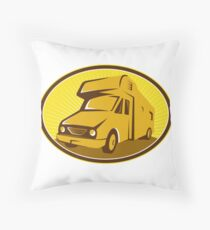 Camper Van Mobile Home Retro Throw Pillow