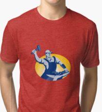 Blacksmith Farrier With Hammer Horseshoe Retro Tri-blend T-Shirt