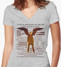 Castiel quotations  Women's Fitted V-Neck T-Shirt