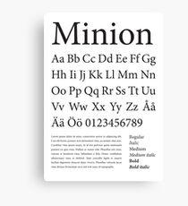 Typography Poster Minion Alphabet Canvas Print