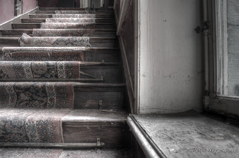 Stairway of an abandoned hotel by Peter Wiggerman