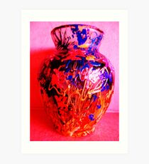 Red Vase with Grafitti Art Print
