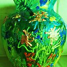 Green Vase with Grafitti by artqueene