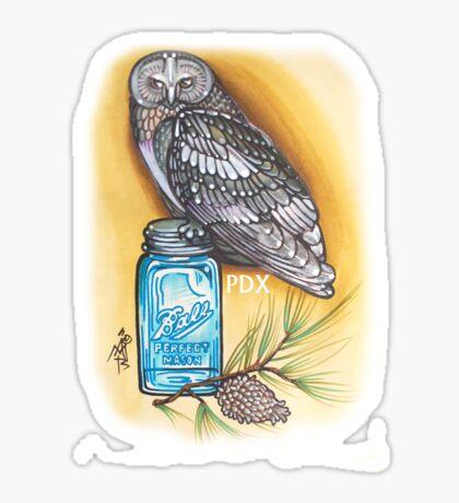 portland owl and mason jar shirt Sticker