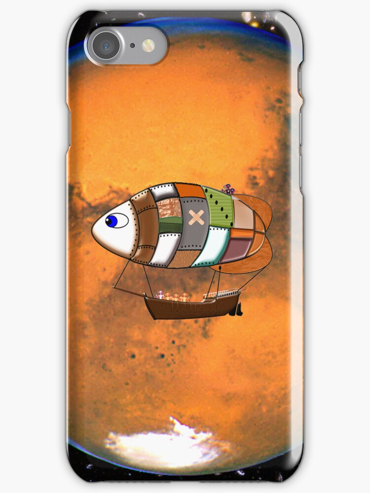 Martian Navy_Airship on Patrol iPhone case by Dennis Melling
