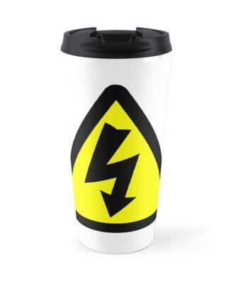 Electrical Warning Symbol Travel Mugs By Sweetsixty Redbubble