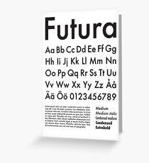 Typography Poster Futura Alphabet Greeting Card