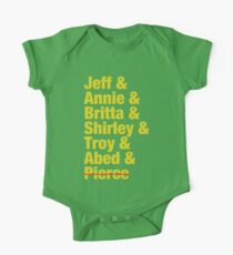 Community Jeff & Annie & Britta & Shirley & Troy & Abed & Pierce Shirt One Piece - Short Sleeve