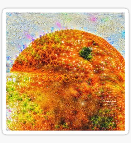 #DeepDreamed Frozen Orange Glossy Sticker