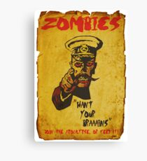 Vintage Zombie Recruitment Poster Canvas Print