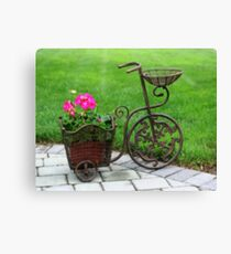 Lienzo Old Fashioned Bicycle And Flowers
