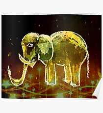 Elephant And Stars. Elephants Gold Pattern. Poster