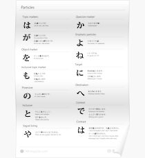 Japanese particles cheat sheet & poster Poster
